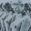 A row of feminine sex robots are shown in this image.