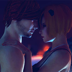 A couple embrace in 3DX Chat, an online sex game that supports Oculus Rift.