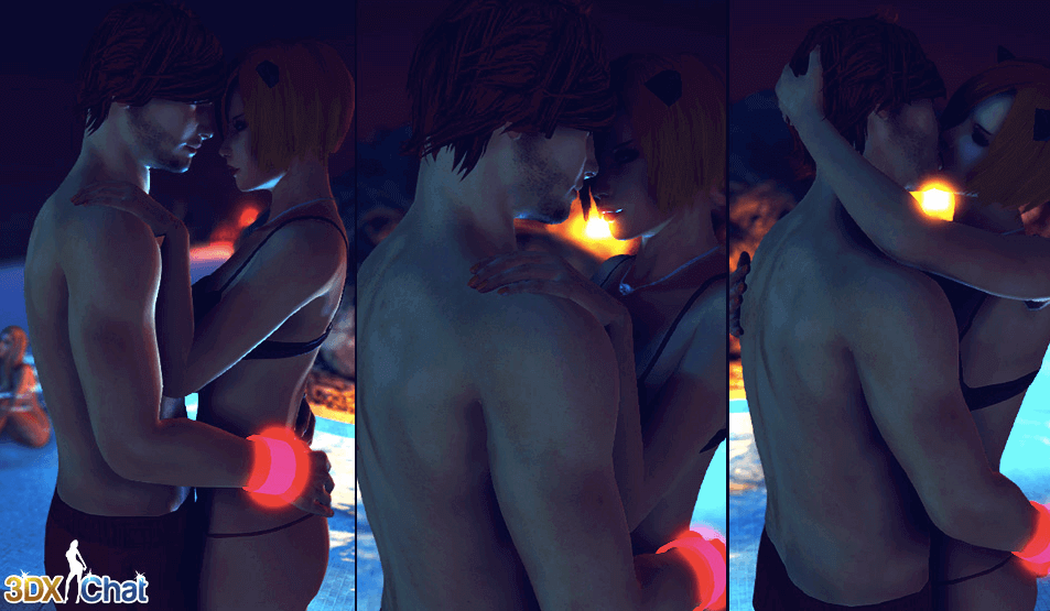 An avatar couple embrace in the adult virtual world 3DX Chat.