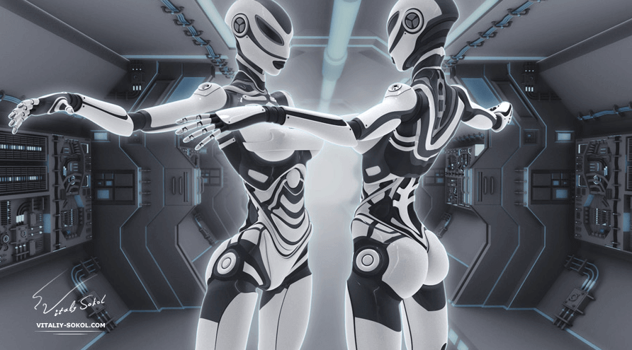 Two gynoids face each other in a futuristic scene.