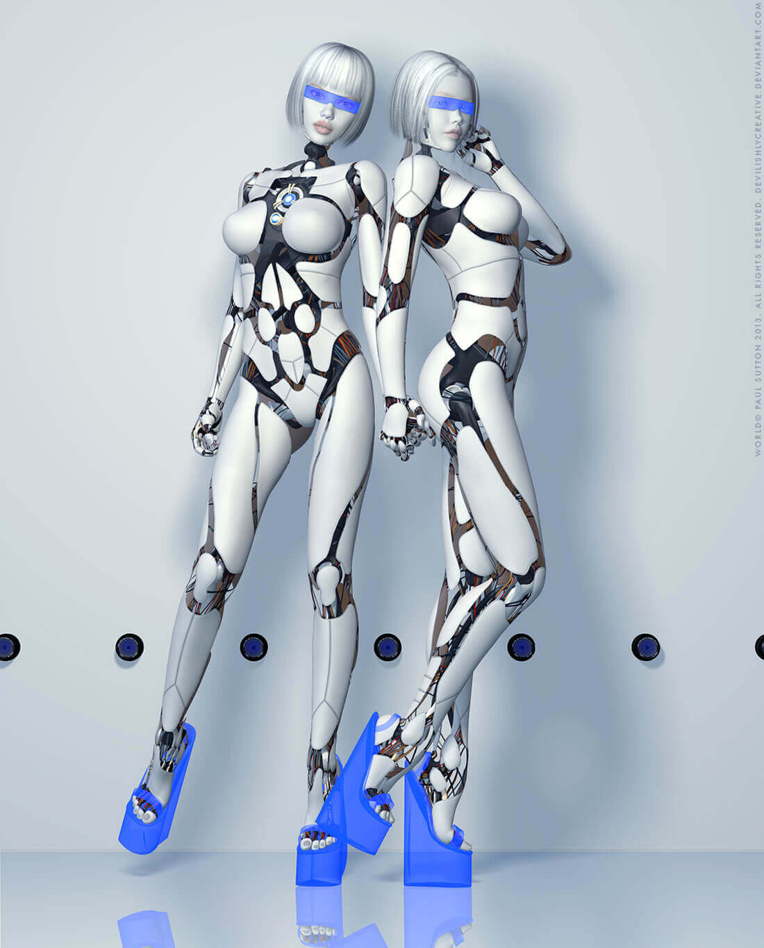Two fembot stand together wearing platform heels.