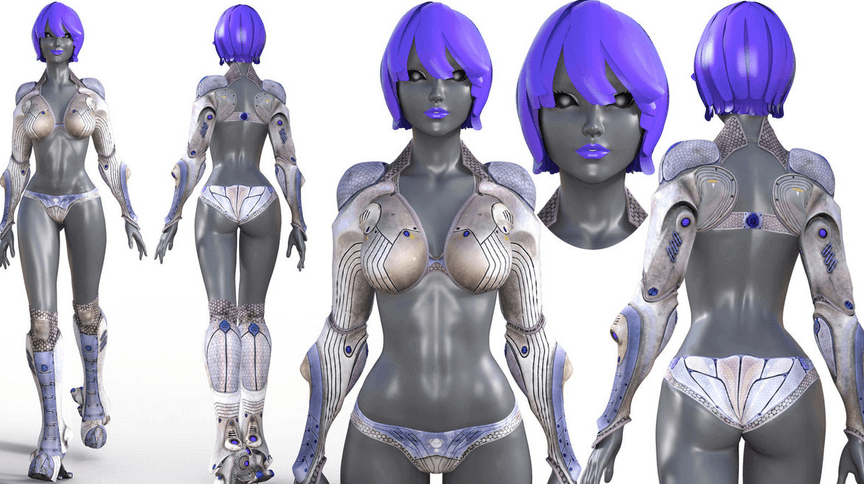 Female android design created by NukuNookee.