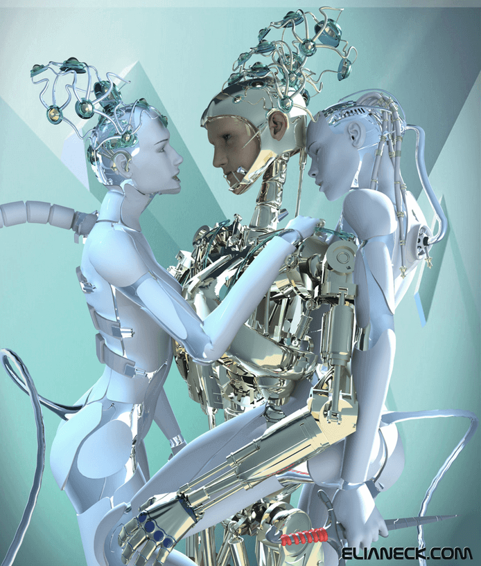 Three robots get intimate together.