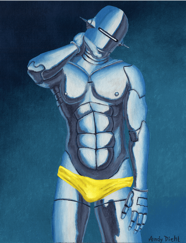 A sexy male robot painted as an homage to famous artist Hajime Sorayama..