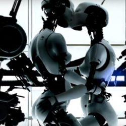 Robots kiss in Bjork music video.