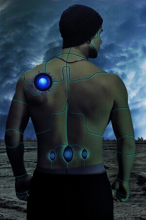 A male cyborg stands in this photo.