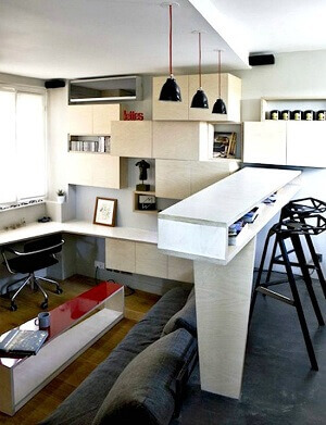 This photo displays a microapartment, a living space less than 360 square feet.