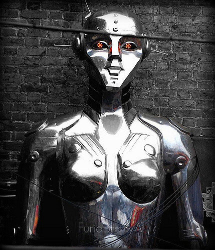 A metallic fembot.