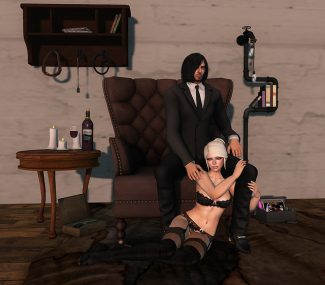 A BDSM couple sit each other in Second Life.