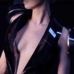 A dress changes its transparency based on the wearer's body heat.