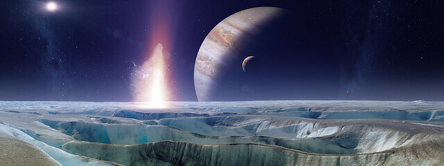 A photo of outer space shows Europa.