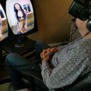 A person watches VR porn.