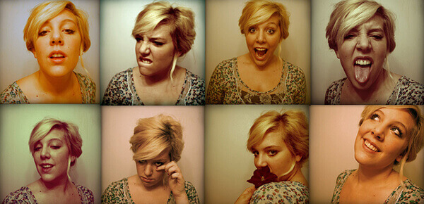 A woman makes many different faces.