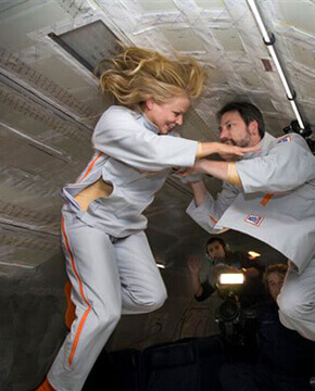 Couple in zero gravity.