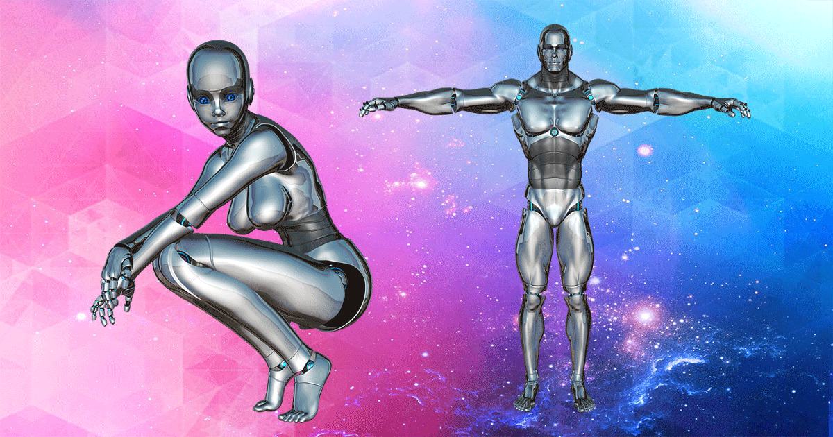 A gynoid and android are shown.