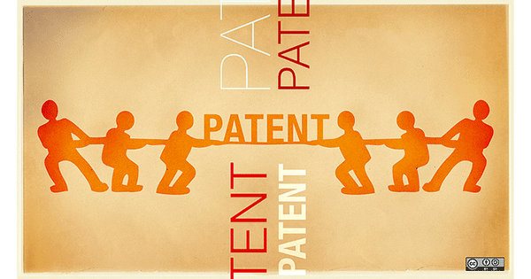 An image depicting struggle over patent law.