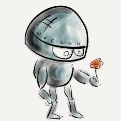 A cute robot holds out a flower.