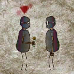 A robot holds flowers to give to another robot.