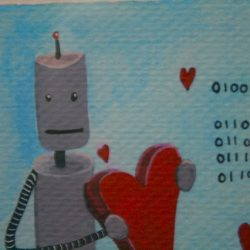 A robot in love holds a heart.