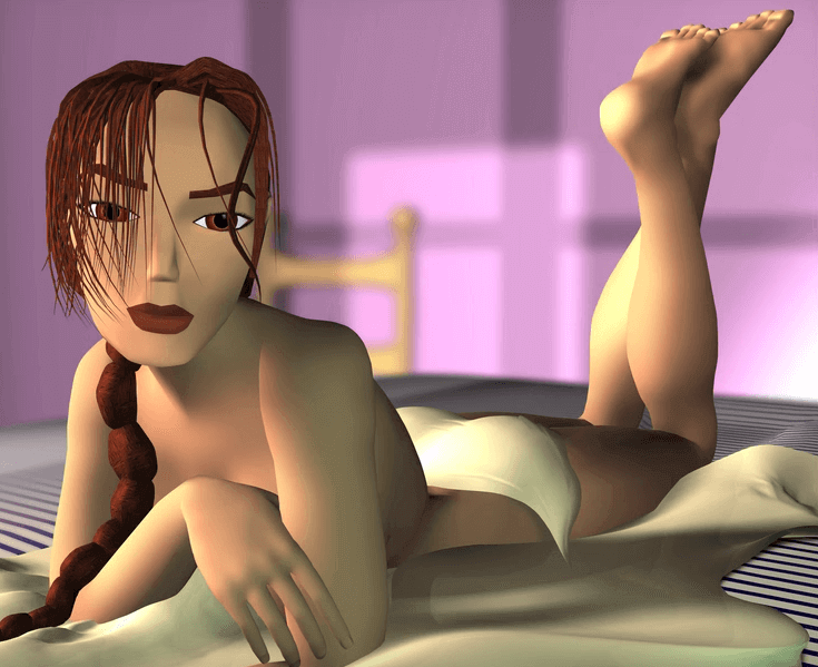 A nearly-nude Lara Croft lies provocatively on a bed.