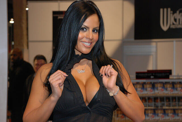 An adult film star poses at the 2009 Adult Entertainment Expo in Las Vegas.