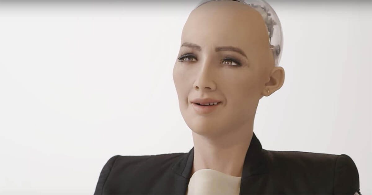 Sophia, a robot with artificial intelligence, awakens for the first time.