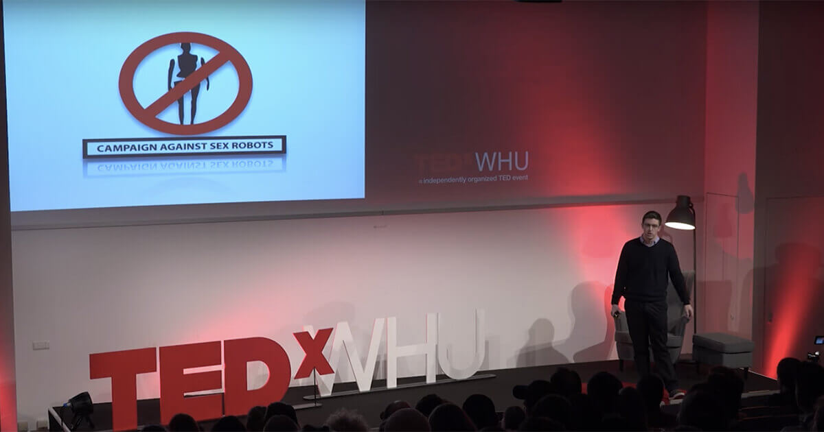 Legal ethicist John Danaher speaks at the TEDxWHU event in February 2017.