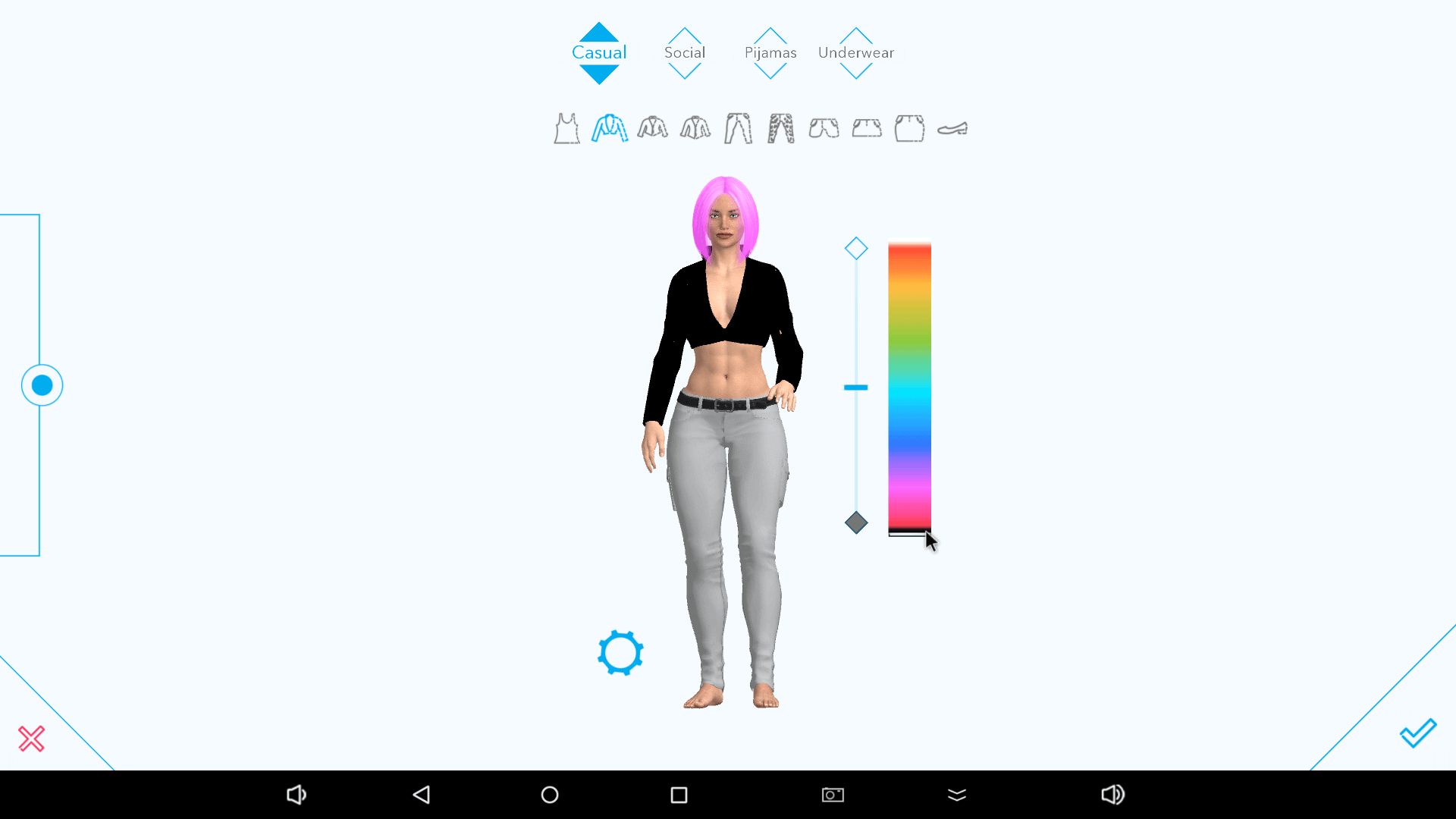 Picking clothing on the Harmony AI app.