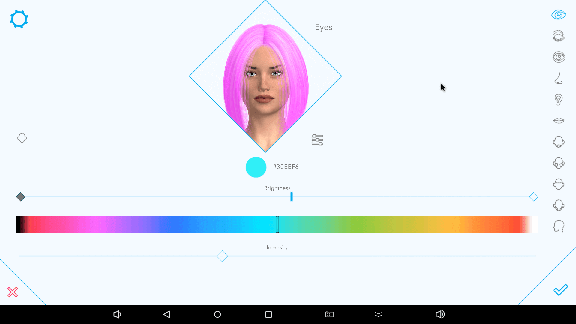 Picking eye color on Harmony AI app.