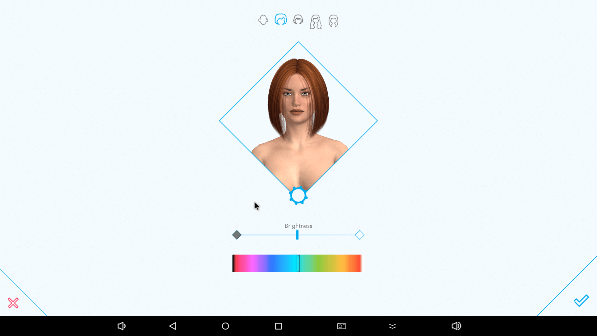 Hair choices on Harmony AI app.