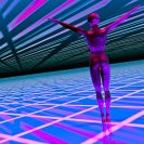 3D illustration of a woman over a high tech futuristic background
