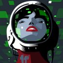 A person with red lips and dark hear wearing a space helmet.