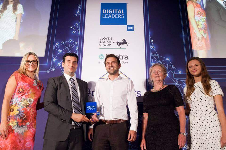 The SH:24 team at the Digital Leaders 100 awards ceremony winning an prize for its work fighting STIs in the UK.