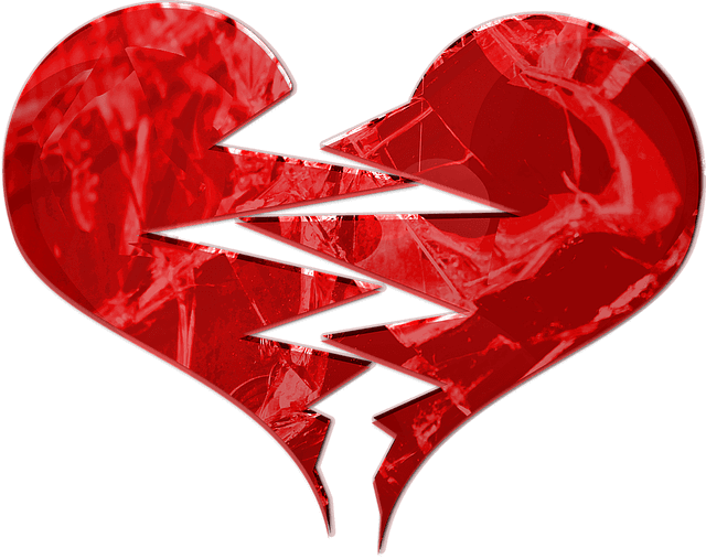 A red heart on appears torn apart.