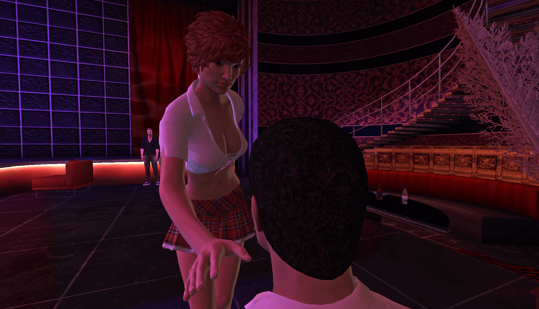 An attractive lady in Red Light Center, a sex game for mac users, holds her hand out to a man.