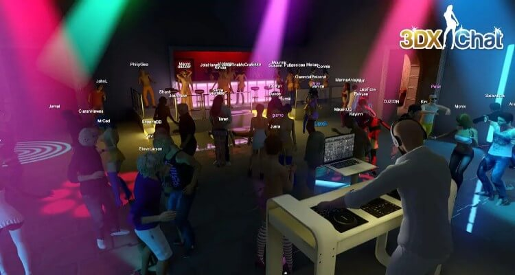 This image shows a nightclub from the multiplayer 3D sex game 3DXChat.