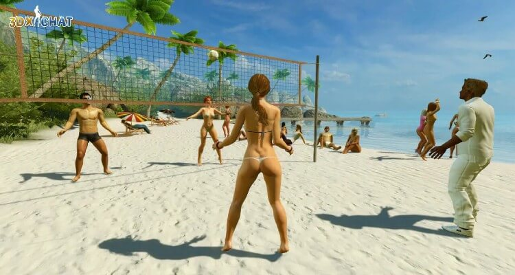 Avatars play volleyball on a beach in the multiplayer online sex game 3DXChat.
