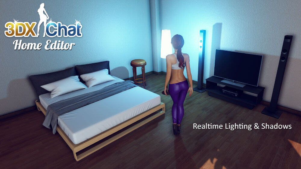 The home editor in 3DXChat lets you customize your apartment in the multiplayer 3D sex game.