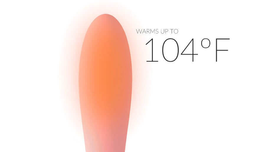 The OVibe heats up to 104-degrees Fahrenheit.