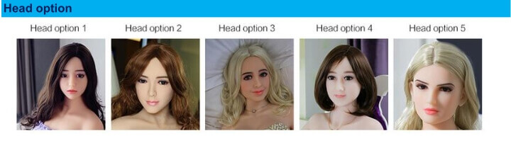 Emma the animatronic sex doll created by AI Tech in China has five head options.