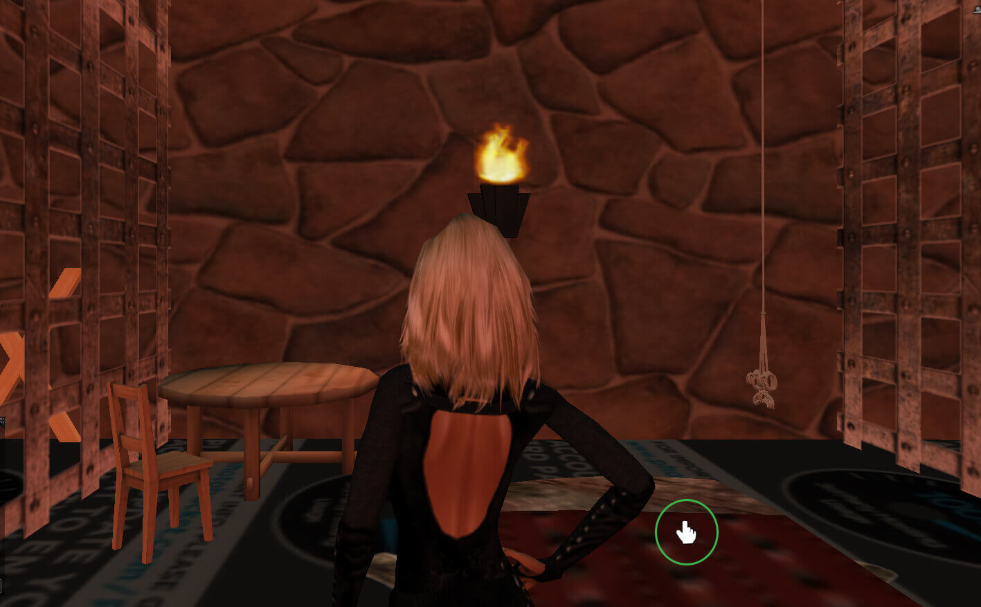 A cursor hand will appear in locations where you can have sex in the Red Light Center adult game.