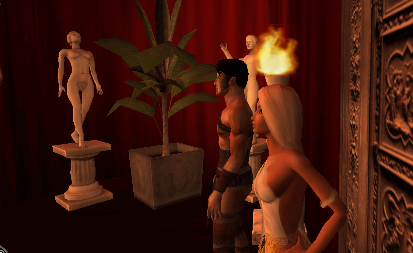 Two avatars stand at the entrance of a Roman sex club in the adult sex world Red Light Center.
