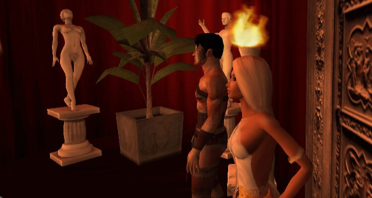 Two avatars stand at the entrance of a Roman sex club.