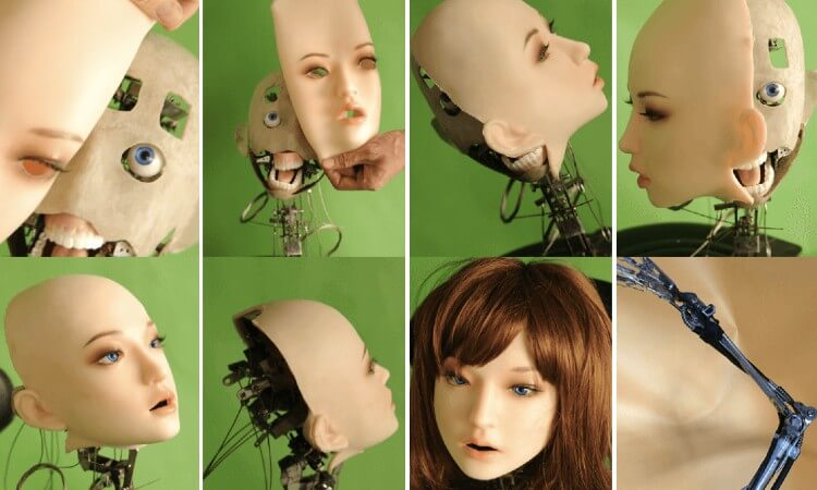 The robotic head of the AI sex doll being created by Doll Sweet.