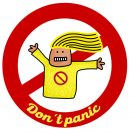 "An illustration of a person with a yellow top and with yellow hair and the text ""Don't panic."""