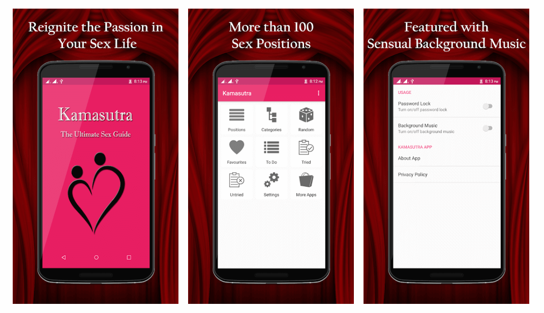 The Kamasutra Sex Positions app shows couples how to get into hot sex positions.