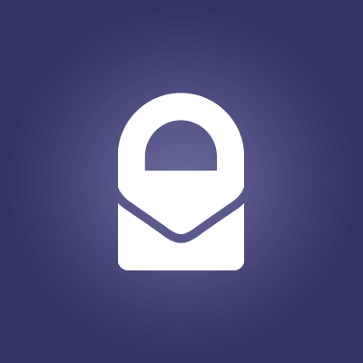 A white lock in front of a purple background is the Protonmail icon.