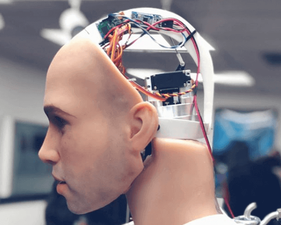 An interior robotic view of Henry the animatronic male sex doll's brain.