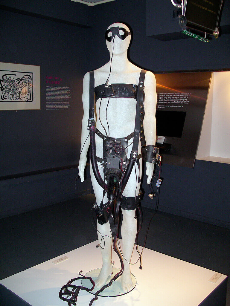 A black remote sex suit called CyberSM that was on display at the Museum of Sex in New York City.