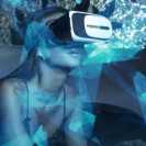 A barely clothed woman wears a head-mounted display VR headset.